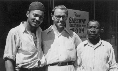 Dad in Harlem with two friends who helped him on the job, 1950