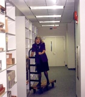 Eva Krusten in the stacks at NARA, A2