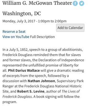 NARA Public Program, Frederick Douglass, July 3, 2017