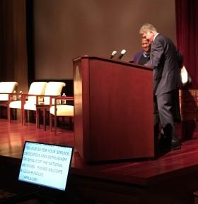 David Ferriero introduces, thanks NAF Board Chair A'Lelia Bundles at NARA, 26 October 2017