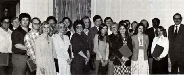 Archivist Bert Rhoads, at right, with National Archives records review award recipients, 1979.