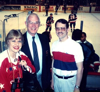 Eva Krusten, NHL official, and Tim Mulligan, Capital Centre, 1992