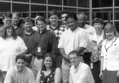 David Mengel, front left, Eva Krusten, Jeanne Schauble, second row, right, NARA A2 1996