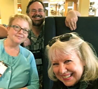 Kate, Dave, Maarja, SAA lobby, 16 August 2017