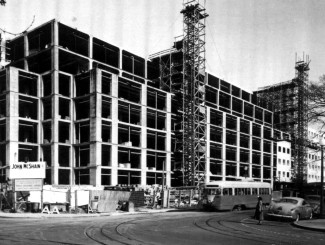 rg 121, national archives photo--construction of gao building, 1950, with streetcar c