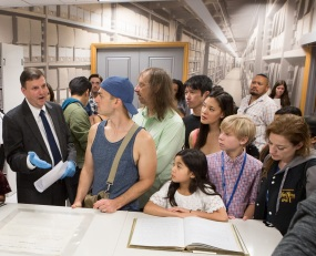 "On August 2, 2017, cast and crew from the touring production of ""The King and I"" tour the National Archives in Washington, DC, and see records related to the King of Siam. Trevor Plante, Archivist, discusses a copy of a reply letter from President Lincoln to the King of Siam."