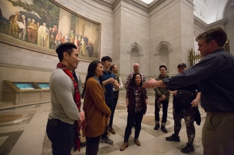 Before starting their run at the Kennedy Center, cast and crew of the Miss Saigon touring company visit the Charters of Freedom and Remembering Vietnam exhibits at the National Archives in Washington, DC, on December 12, 2018.