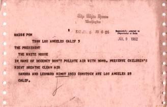 Leonard Nimoy telegram to President Kennedy, 1962