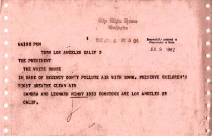 Leonard Nimoy telegram to President Kennedy, 1962