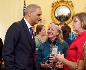 Eric Holder, Maarja Krusten, Bonnie Mulligan, NARA Archivists Reception Room, July 2014