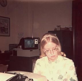Maarja typing constituent letters in Sen. Baker's office 1973